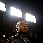 Former Giants superstar Barry Bonds can only reflect from the stands in game one of the World Series between the San Francisco Giants and the Texas Rangers at AT&amp;T Park  October 27, 2010 in San Francisco, Calif. <br />