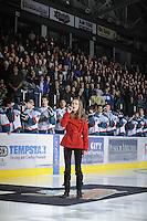 KELOWNA, CANADA, FEBRUARY 8: Rachel Pavlakovic sings the national anthem as the Seattle Thunderbirds visit the Kelowna Rockets on February 8, 2012 at Prospera Place in Kelowna, British Columbia, Canada (Photo by Marissa Baecker/www.shootthebreeze.ca) *** Local Caption ***