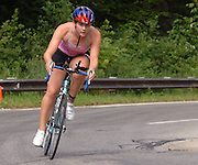 Traverse City Resident Jamie Chapman rides in the second leg of the Inaugural Little Traverse Triathlon in Harbor Springs, Michigan.  Chapman took top honors in the female 15-19 age group.