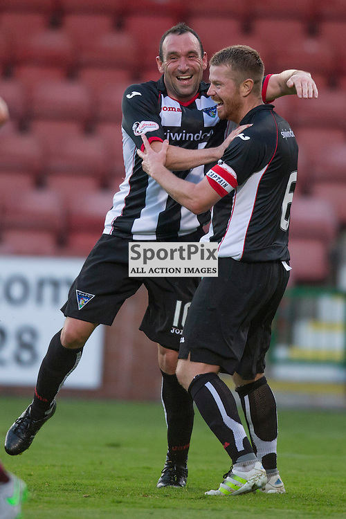 Dunfermline Athletic v Arbroath Betfred League Cup East End Park 19 July 2016<br />Both Dunfermline goalscorers, Andy Geggan and Michael Moffat celebrate after Geggan makes it 2-0<br /><br />CRAIG BROWN | sportPix.org.uk