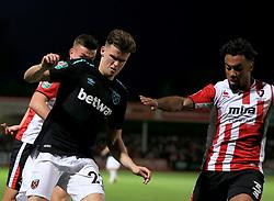 Sam Byram of West Ham United battles with Jordan Cranston of Cheltenham Town - Mandatory by-line: Paul Roberts/JMP - 23/08/2017 - FOOTBALL - LCI Rail Stadium - Cheltenham, England - Cheltenham Town v West Ham United - Carabao Cup