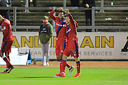 GOAL Nathaniel Mendez-Laing celebrates with Ollie Rathbone 2-0 Rochdale during the The FA Cup match between Carlisle United and Rochdale at Brunton Park, Carlisle, England on 3 December 2016. Photo by Daniel Youngs.