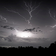 Thunder and lightning in the night.