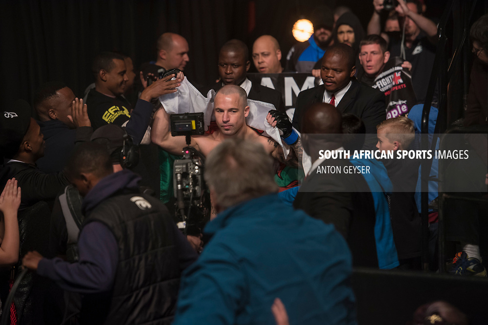 JOHANNESBURG, SOUTH AFRICA - MAY 13: Azi Thomas enters the arena during EFC 59 Fight Night at Carnival City on May 13, 2017 in Johannesburg, South Africa. (Photo by Anton Geyser/EFC Worldwide/Gallo Images)