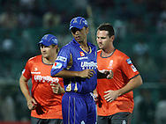 Rajasthan Royals captain Rahul Dravid warm up before the start of the match 1 of the Karbonn Smart Champions League T20 (CLT20) 2013  between The Rajasthan Royals and the Mumbai Indians held at the Sawai Mansingh Stadium in Jaipur on the 21st September 2013<br /> <br /> Photo by Vipin Pawar-CLT20-SPORTZPICS <br /> <br /> Use of this image is subject to the terms and conditions as outlined by the CLT20. These terms can be found by following this link:<br /> <br /> http://sportzpics.photoshelter.com/image/I0000NmDchxxGVv4