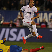 Landon Donovan, USA, hits the post with a shot during his farewell match during the USA Vs Ecuador International match at Rentschler Field, Hartford, Connecticut. USA. 10th October 2014. Photo Tim Clayton