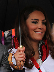 © licensed to London News Pictures. London, UK. 01/08/2012. Duchess of Cambridge Katherine (Kate) Middleton watching Zara Phillips compete at Olympic Equestrian Showjumping at Greenwich Park on August 1, 2012. Photo credit: Russell Marsh/LNP