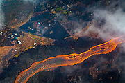 Lava Flows in river to ocean, Kilauea Volcano, Island of Hawaii, Hawaii