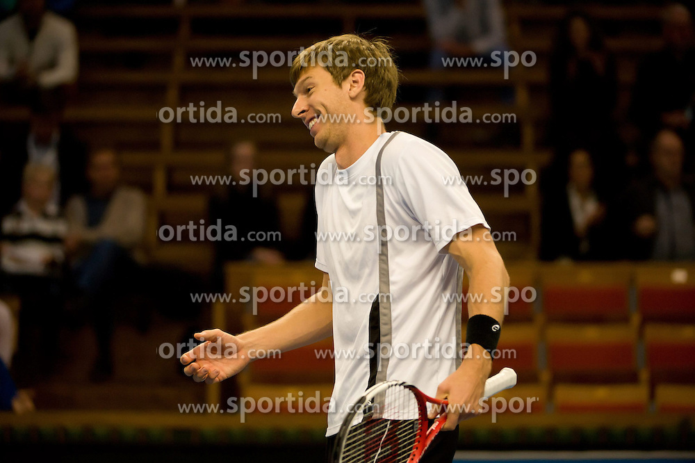 19.10.2012, Kungliga Tennis Halle, Stockholm, SWE, ATP, Stockholm Open, im Bild Doubles Robert Lindstedt (SWE)/ Nenad Zimonjic (SRB) vs Eric Butorac (USA)/ Paul Hanley (AUS) : Eric here happy // after winning the set, // during the ATP Stockholm Open at the Kungliga Tennis Halls, Stockholm, Sweden on 2012/10/19. EXPA Pictures © 2012, PhotoCredit: EXPA/ PicAgency Skycam/ ATTENTION - OUT OF SWE *****