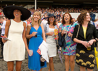 Roisin Fadden from Knocknacarra, Celine Quigley Donegal, Anita Hendrik Wexford Deirdre Payne Galway and Theresa Ni Chadhain Galway at the Ballybrit race course for Galway Plate day. Photo:Andrew Downes