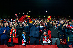 LIVERPOOL, ENGLAND - Tuesday, December 11, 2018: Liverpool supporters celebrate after beating SSC Napoli 1-0 during the UEFA Champions League Group C match between Liverpool FC and SSC Napoli at Anfield. (Pic by David Rawcliffe/Propaganda)