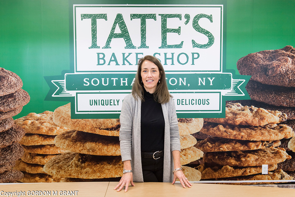 Tate's Bake Shop CEO, Maura Mottolese, inside a conference room at the companies distribution center at the Hampton Business District at Gabreski Airport in Westhampton, Jan. 16, 2018. Tate's Bake Shop is expanding it's distribution facility into a newly constructed building at the site.
