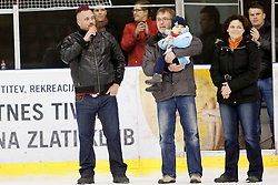 Jakec with his father and mother during Humanitarian hockey derby of legends between Olimpija and Jesenice, on 7 March 2014, in Hala Tivoli, Ljubljana, Slovenia. Photo by Urban Urbanc / Sportida.com
