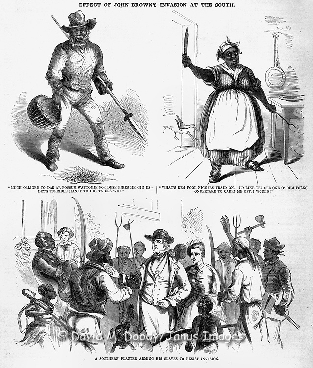 An interesting view of Pre Civil War events in Virginia with slave owners supposedly arming their loyal slaves to resist John Brown's invaders. The effects of John Brown's Invasion of the South to spark a slave rebellion by seizing the arsenal at Harper's Ferry, Virginia (present day West Virginia ), just before the start of the Civil War. Harper's Weekly November 19, 1859 Illustrations by Porte Crayon (David Hunter Strother)