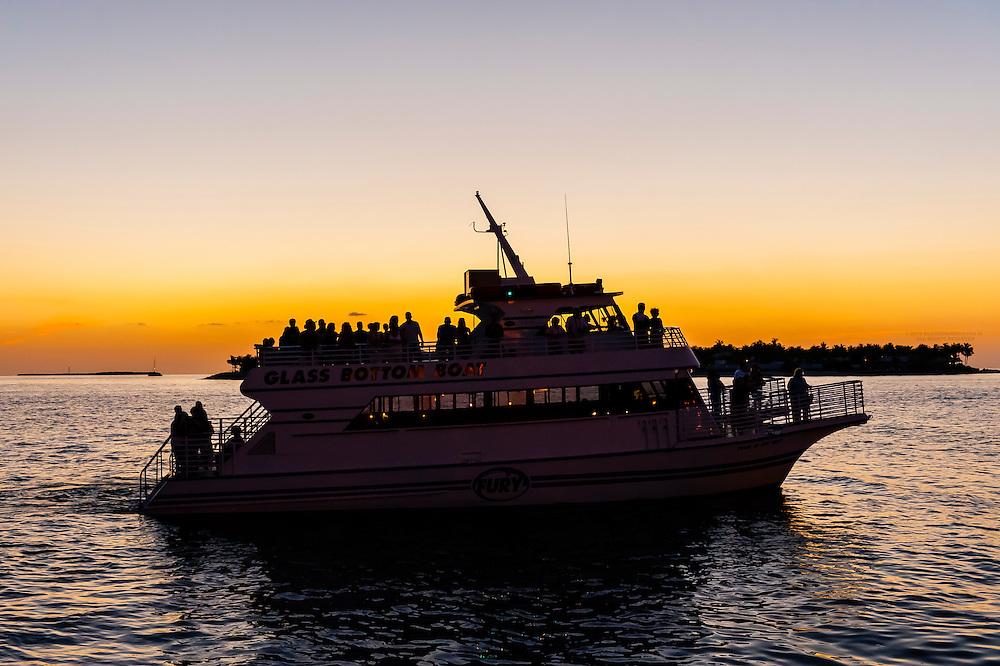 Boats off Mallory Square for the Sunset Celebration, Key West, Florida Keys, Florida USA