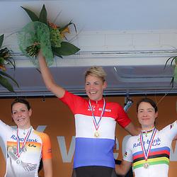 27-06-2014: Wielrennen: NK wielrennen: Ootmarsum vrouwen podium met kampioen Iris Slappendel, Lucinda Brand (zilver) en Marianne Vos (brons)
