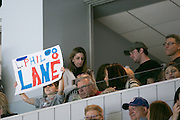 Helana Gianvecchio, 5, holds a sign for her cousin, Springfield Falcons forward Phil Lane, a Greece native, during a game between the Falcons and the Rochester Amerks at the Blue Cross Arena in Rochester on Friday, March 4, 2016.