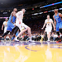 09 March 2014: Oklahoma City Thunder power forward Serge Ibaka (9) vies for the rebound with Los Angeles Lakers center Pau Gasol (16) during the Los Angeles Lakers 114-110 victory over the Oklahoma City Thunder at the Staples Center, Los Angeles, California, USA.
