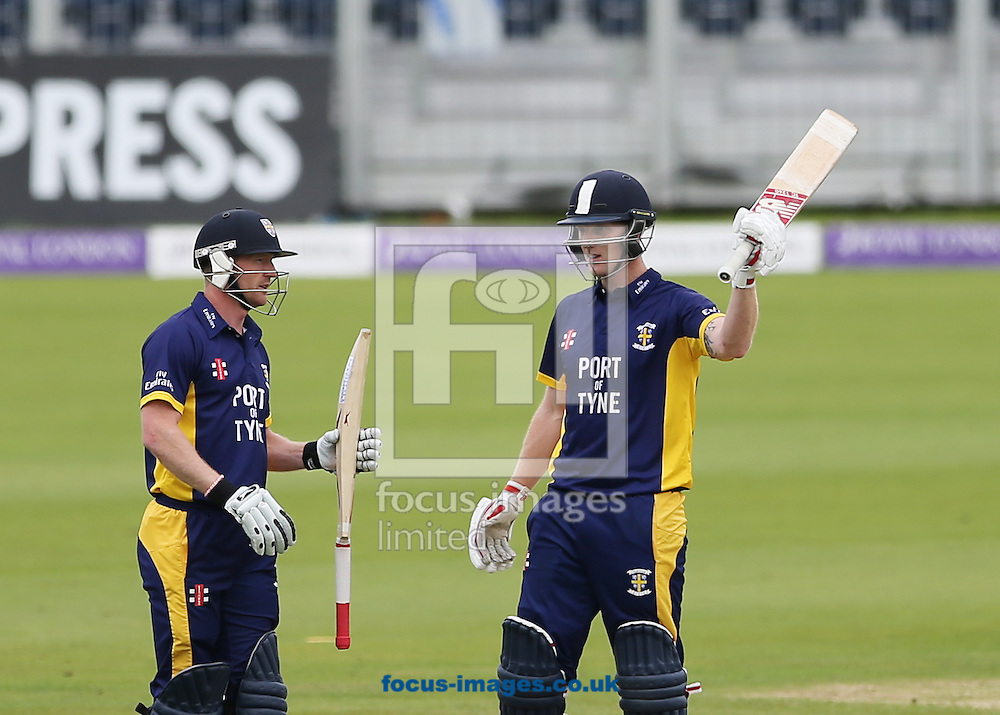 Ben Stokes (r) of Durham County Cricket Club acknowledges the crowd after hitting a century during the Royal London One Day Cup match at Emirates Durham ICG, Chester-le-Street<br /> Picture by Simon Moore/Focus Images Ltd 07807 671782<br /> 06/09/2014
