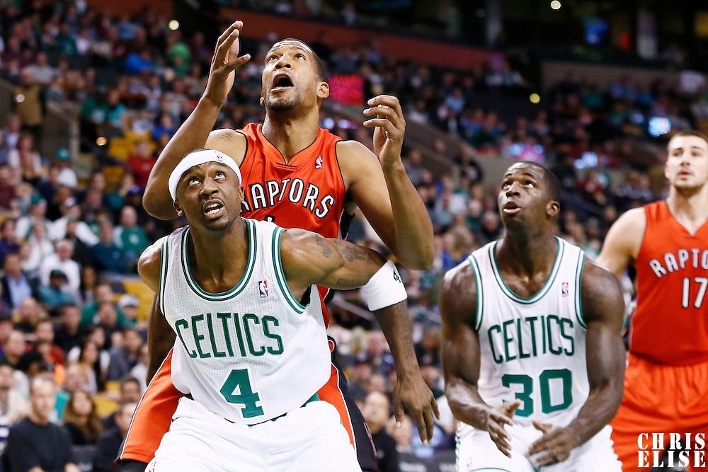 17 November 2012: Boston Celtics shooting guard Jason Terry (4) vies for the rebound with Toronto Raptors small forward Dominic McGuire (1) during the Boston Celtics 107-89 victory over the Toronto Raptors at the TD Garden, Boston, Massachusetts, USA.