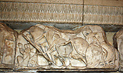 relief from the Nereid Monument, which takes its name from the Nereids, sea-nymphs whose statues were placed between the columns of this monumental tomb. It was built for Erbinna, ruler of Lycian Xanthos, south-west Turkey. 390-380 BC.