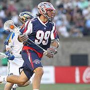 Paul Rabil #99 of the Boston Cannons runs with the ball during the game at Harvard Stadium on May 17, 2014 in Boston, Massachuttes. (Photo by Elan Kawesch)