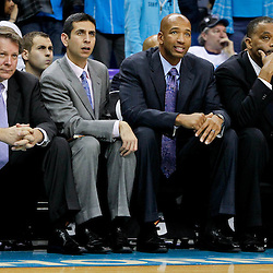 February 10, 2012; New Orleans, LA, USA; New Orleans Hornets head coach Monty Williams and his coaching assistants Dave Hanners, James Borrego and Randy Ayers watch from the bench during the fourth quarter of a game against the Portland Trail Blazers at the New Orleans Arena. The Trail Blazers defeated the Hornets 94-86. Mandatory Credit: Derick E. Hingle-US PRESSWIRE