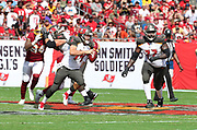 Nov 11, 2018; Tampa, FL USA: Tampa Bay Buccaneers quarterback Ryan Fitzpatrick (14) scrambles for yardage against the Washington Redskins at Raymond James Stadium. The Redskins beat the Buccaneers 16-3. (Steve Jacobson/Image of Sport)