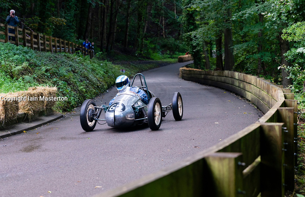 Boness Revival hillclimb motorsport event in Boness, Scotland, UK. The 2019 Bo'ness Revival Classic and Hillclimb, Scotland's first purpose-built motorsport venue, it marked 60 years since double Formula 1 World Champion Jim Clark competed here.  It took place Saturday 31 August and Sunday 1 September 2019. 62. Mark Riley . Creamer Special