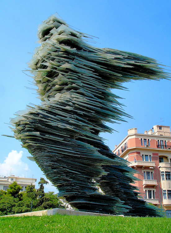 Dromeas The Runner Man Glass Sculpture in Athens, Greece<br />