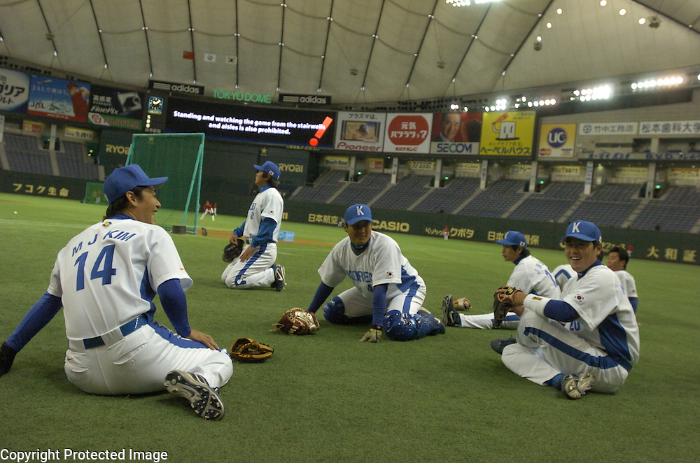 Team Korea relaxing before the start of Game 3 of the World Baseball Classic against Team China at Tokyo Dome, Tokyo, Japan.