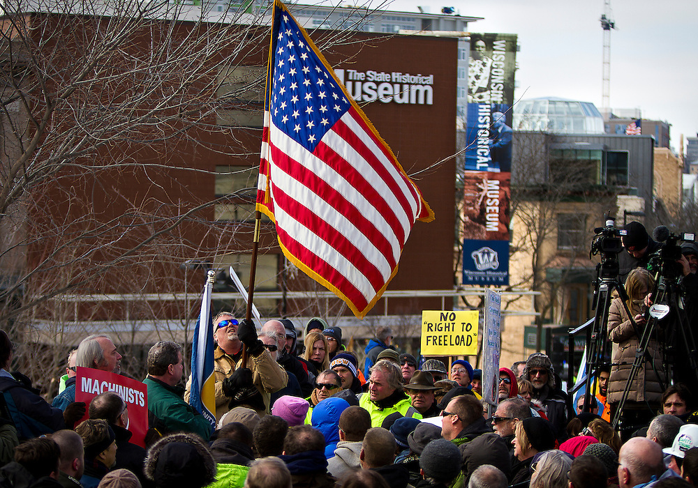 MADISON, WI — FEBRUARY 24: Workers, labor unions, and supporters gathered outside the Wisconsin State Capitol in opposition to a right-to-work bill being discussed in the state legislature on Tuesday, February 24.