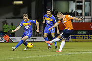 Jake Howells of Luton Town (right) shoots under pressure from Mark Ellis of Shrewsbury Town (left) during the Sky Bet League 2 match at Kenilworth Road, Luton<br /> Picture by David Horn/Focus Images Ltd +44 7545 970036<br /> 08/01/2015