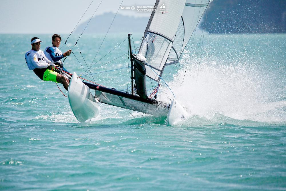 PortugalSirena SL16OpenCrewPORMF11Miguel Ferreira<br />PortugalSirena SL16OpenHelmPORRR7RuiRibeiro<br />Day4, 2015 Youth Sailing World Championships,<br />Langkawi, Malaysia