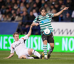 BOLTON, ENGLAND - Thursday, March 6, 2008: Bolton Wanderers' Matthew Taylor and Sporting Clube de Portugal's Abel during the UEFA Cup Round of 16 1st Leg match at the Reebok Stadium. (Pic by David Rawcliffe/Propaganda)