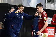 Middlesbrough manager Jonathan Woodgate  gives instructions to Paddy McNair (17) of Middlesbrough during the EFL Sky Bet Championship match between Fulham and Middlesbrough at Craven Cottage, London, England on 17 January 2020.