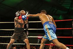 March 22, 2019 - Miami, Florida, USA - Venezuelan super lightweight ISMAEL BARROSO in action against Argentina's ENRIQUE MARTIN ESCOBAR at M&R Boxing Promotion's Fight Night at the Miccosukee Resort and Gaming Dome. Barroso won the bout by knockout. (Credit Image: © Adam DelGiudice/ZUMA Wire)