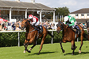 DUBAI ACCLAIM (4) ridden by Sammy Jo Bell and trained by Richard Fahey winning The Mondialiste Leger Legends Classified Stakes over 1m (£11,600)   during the opening day of the St Leger Festival at Doncaster Racecourse, Doncaster, United Kingdom on 11 September 2019.