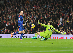 Manchester United's Wayne Rooney scores. - Photo mandatory by-line: Alex James/JMP - Mobile: 07966 386802 - 22/11/2014 - Sport - Football - London - Emirates Stadium - Arsenal v Manchester United - Barclays Premier League