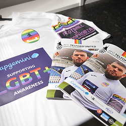 "TELFORD COPYRIGHT MIKE SHERIDAN AFC Telford United kits in the dressing room prior to the Vanarama National League Conference North fixture between AFC Telford United and Spennymoor Town on Saturday, November 16, 2019.<br /> <br /> AFC Telford United hosted a ""football vs homophobia"" event, which saw the club wear specially designed kit with rainbow insignia, for the game.<br /> <br /> Picture credit: Mike Sheridan/Ultrapress<br /> <br /> MS201920-030"