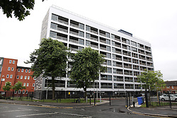 "© Licensed to London News Pictures . 08/07/2015 . Manchester , UK . GV of Fulton Court , Hulme , Manchester , where a man was tasered by police this morning (8th July 2015) . Earlier this week an enquiry reported that GMP's use of a Taser on Jordan Begley in July 2013 was ""not reasonable"" and lead to his death . Photo credit : Joel Goodman/LNP"