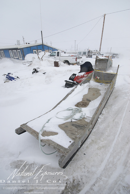 A snowy day on the streets of Kaktovik, Alaska.