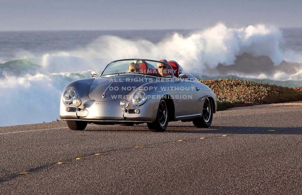 Image of a silver 1958 Custom Porsche 356 Speedster in Monterey, California, America west coast, model and property released