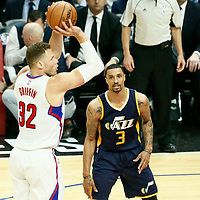 15 April 2017: LA Clippers forward Blake Griffin (32) takes a jump shot during the Utah Jazz 97-95 victory over the Los Angeles Clippers, during game 1 of the first round of the Western Conference playoffs, at the Staples Center, Los Angeles, California, USA.