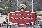 LOS ANGELES, CA - MAY 12:  The scoreboards feature welcome to Dodger Stadium signs in honor of Mother's Day before the game against the Miami Marlins on Sunday, May 12, 2013 at Dodger Stadium in Los Angeles, California. The Dodgers won the game 5-3. (Photo by Paul Spinelli/MLB Photos via Getty Images)
