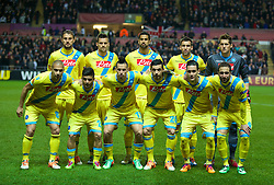 SWANSEA, WALES - Thursday, February 20, 2014: SSC Napoli's players line up for a team group photograph before the UEFA Europa League Round of 32 1st Leg match at the Liberty Stadium. Back row L-R: Henrique, Christian Maggio, Miguel Britos, Anthony Réveillère, goalkeeper Rafael Cabral. Front row L-R: Gokhan Inler, Lorenzo Insigne, Marek Hamsik, Blerim Dzemaili, Jose Callejon, Gonzalo Higuain. (Pic by David Rawcliffe/Propaganda)