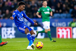 Demarai Gray of Leicester City scores a goal to make it 1-0 - Mandatory by-line: Robbie Stephenson/JMP - 26/02/2019 - FOOTBALL - King Power Stadium - Leicester, England - Leicester City v Brighton and Hove Albion - Premier League