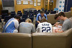 05 April 2008: North Carolina Tar Heels men's lacrosse members defenseman Hunter Meldman (47), defenseman Pell George (16), defenseman Kevin Piegare (38), defenseman Sean Jackson (33) and midfielder Mike Munnelly (24) in a prayer session led by Mike Echstenkamper on game day versus the Virginia Cavaliers in Chapel Hill, NC.