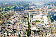 Nederland, Zuid-Holland, Rotterdam, 10-06-2015; bedrijventerrein Waalhaven-Zuid (Waalhaven Zuidzijde) met KPN-zendmast Waalhaven. Links Emplacement Waalhaven.<br /> Waalhaven Zuid business park.<br /> <br /> luchtfoto (toeslag op standard tarieven);<br /> aerial photo (additional fee required);<br /> copyright foto/photo Siebe Swart