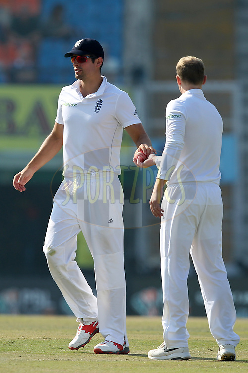 Alister Cook captain and Gareth Batty of England during day 3 of the third test match between India and England held at the Punjab Cricket Association IS Bindra Stadium, Mohali on the 28th November 2016.Photo by: Prashant Bhoot/ BCCI/ SPORTZPICS